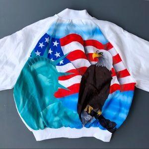 Vintage Pro Fit Mens Silk Bomber Jacket Size XL